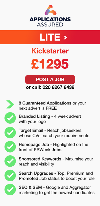 Applications Assured Lite. Kickstarter. £1295. Post a Job or call: 02082678438. 8 Guaranteed Applications or your next advert is FREE. Branded Listing - 4 week advert with your logo. Target Email - Reach jobseekers