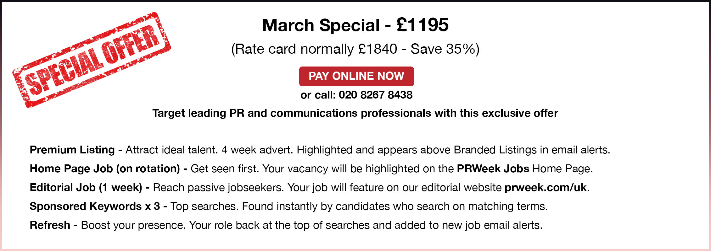 Special Offer. March Special - 1195.